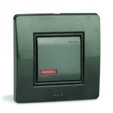 Выключатель с подсветкой, 16А, 250V~, черный, 1 мод.