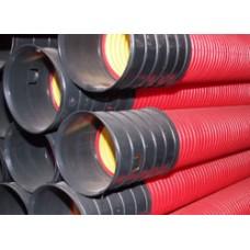 Усиленные (жесткие) двустенные гофрированные трубы из полиэтилена, (10 кПа), д125мм, цвет красный, с протяжкой